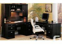 EUC office desk with dual pedestal workdesk, hutch,