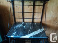 Wrought Iron and Turkish Marble Bakers Rack. Originally