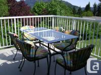Very nice patio dining set with 6 stackable wrought