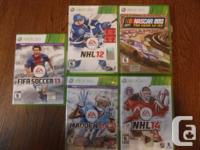 5-XBOX 360 games, buy separately $10.00-$20.00, or as a