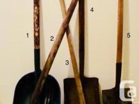 1. Large square shovel, hard plastic/composite, missing
