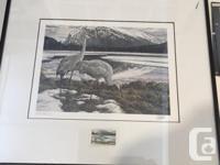 Canadian Wildlife Habitat framed Conservation stamp and
