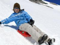 Three red Zipfy lugeboards for sale. Used, but in good