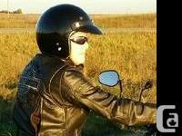 GLOSS BLACK DOT approved -Vintage look 3/4 helmet.