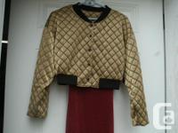 Vintage Quilted gold / black color Bolero, Jacket size